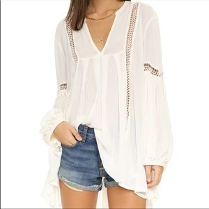 Free People Two of Us White Tunic Crochet
